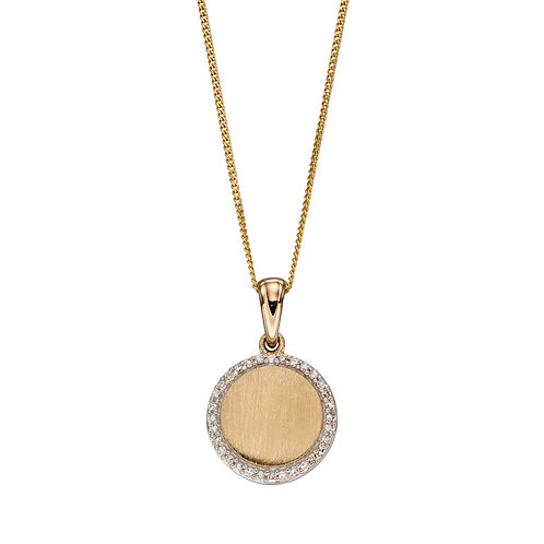Diamond And Brushed 9ct Gold Disc Pendant