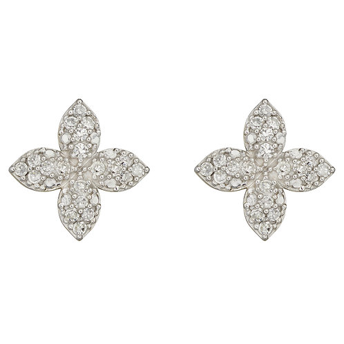 Puffed Flower Earrings with Diamonds in 9ct Yellow Gold