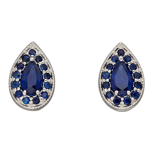 Teardrop Stud Earrings with Sapphire in 9ct White Gold