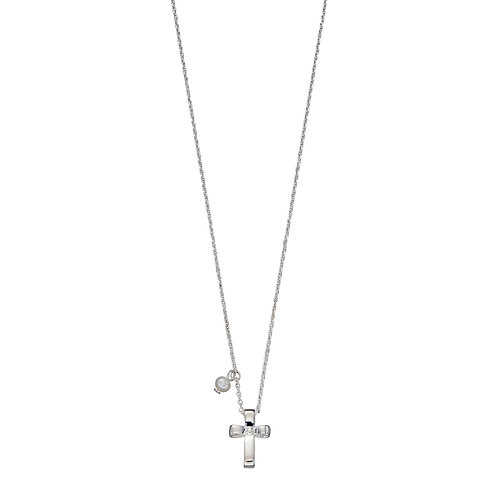 Ribbon Effect Cross Necklace With Pearl