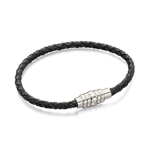 Skinny Stainless Steel Black Leather Bracelet