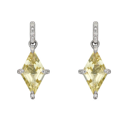 Kite Shaped Semi Precious Earrings in 9ct Gold with Diamonds