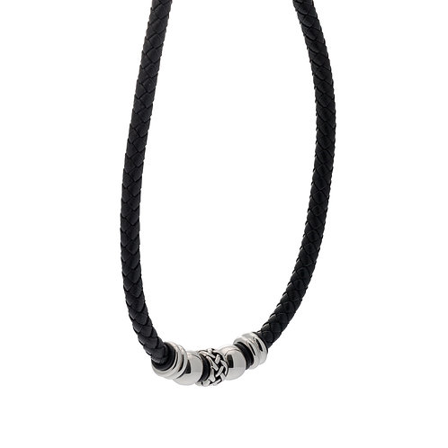 Stainless Steel Black Leather Bead Necklace