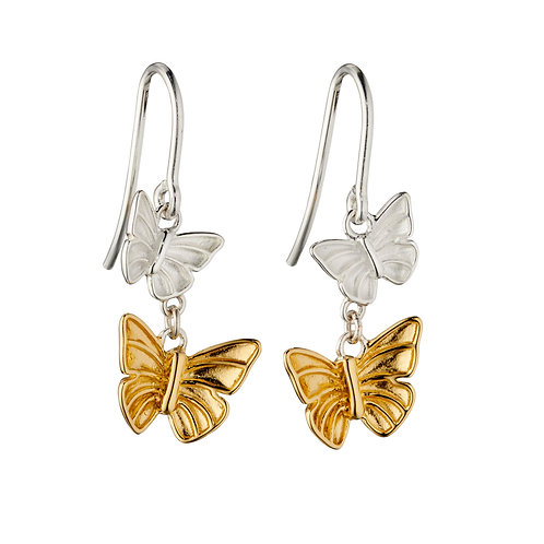 Butterfly Earrings With Yellow Gold Plating