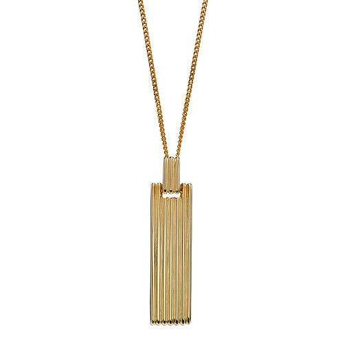 Colum Long Bar Necklace in 9ct Yellow Gold