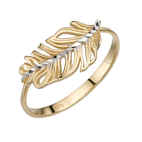 Feather Ring in 9ct Yellow and White Gold