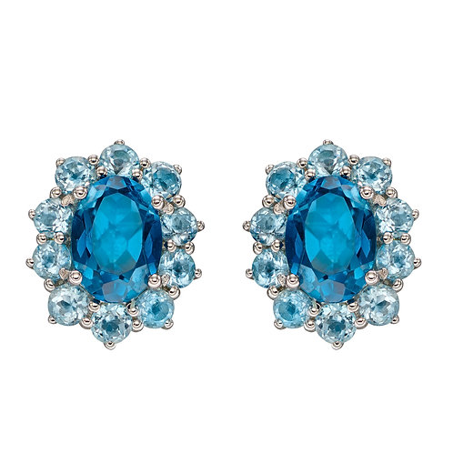 Blue Topaz Earrings in 9ct White Gold