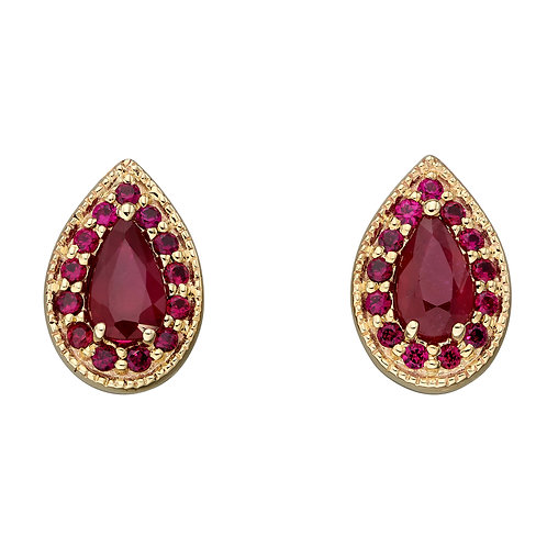 Teardrop Stud Earrings with Ruby in 9ct Yellow Gold
