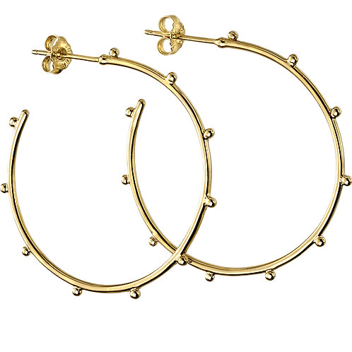 Gold Plated Studded 3/4 Hoops