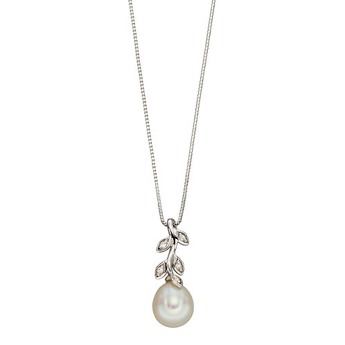 Fresh Water Pearl and Diamond Leaf Design Necklace in 9ct White Gold