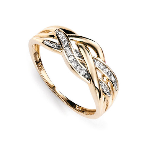 9ct Yellow Gold Diamond Plaited Criss-Cross Ring