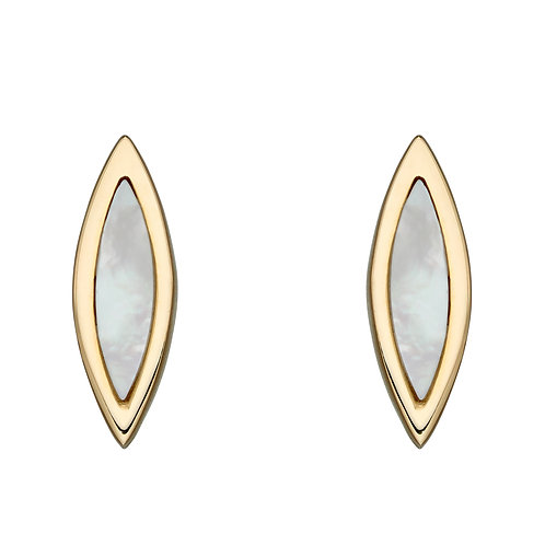 Navette Mother of Pearl Stud Earrings in 9ct Yellow Gold