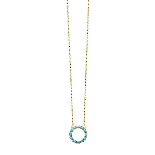 Gold Plated Blue Magnesite Disc Necklace