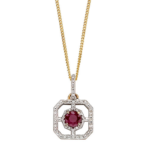 Art Deco Necklace with Precious and Diamond Stones in 9ct Yellow Gold
