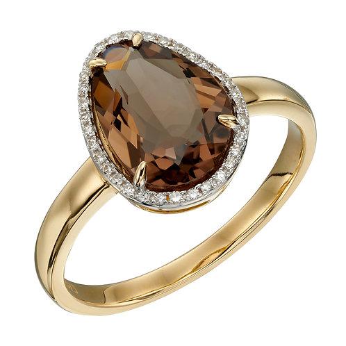 Irregular Shaped Semi Precious Stone Ring with Diamonds in 9ct Gold