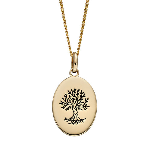 Oxidised Tree of Life Necklace in 9ct Yellow Gold