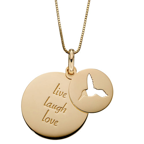 Disc Humming Bird and 'Live Laugh Love' Necklace in 9ct Yellow Gold