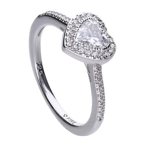 Heart Pave Set Ring with Diamonfire Zirconia