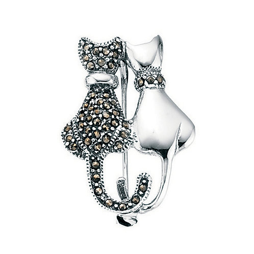 Marcasite Double Cat Silver Brooch