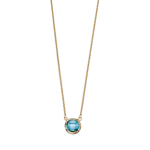 9ct Yellow Gold and Blue Topaz Necklace