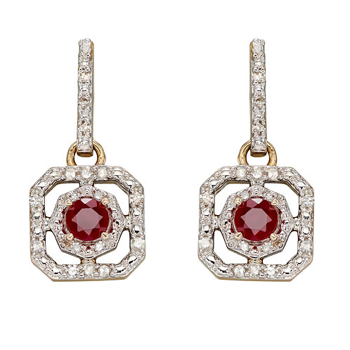 Art Deco Earrings with Precious and Diamond Stones in 9ct Yellow Gold