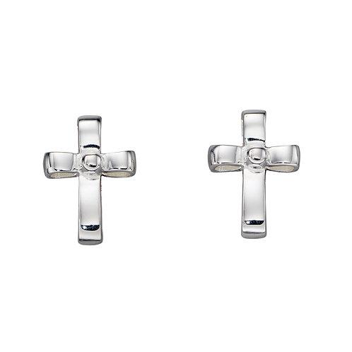 Ribbon Effect Cross Earrings
