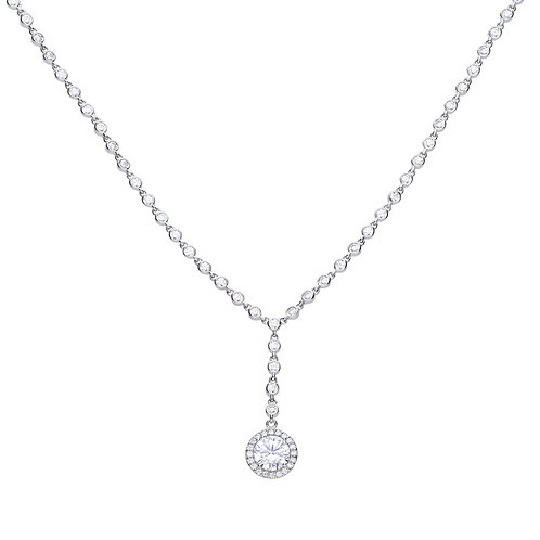 Y- Collier Silver with White Diamonfire Zirconia And Pave Setting