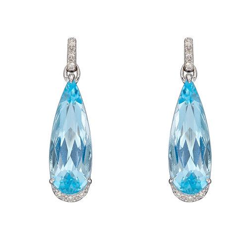 Blue Topaz Teardrop Earrings in 9ct White Gold with Diamonds