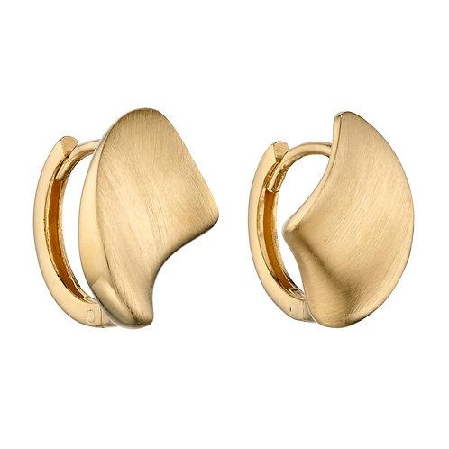 Concave Organic Huggie Hoop Earrings in 9ct Yellow Gold
