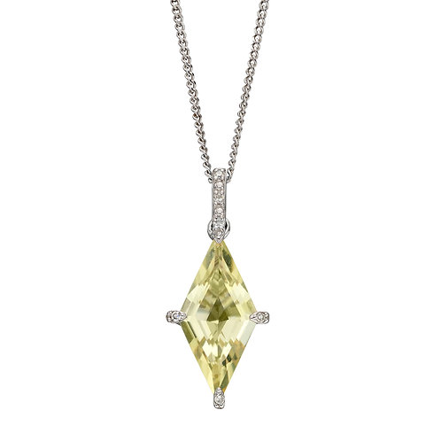 Kite Shaped Semi Precious Necklace in 9ct Gold with Diamonds