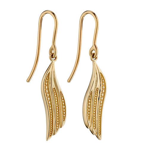 Wing Drop Earrings in 9ct Yellow Gold