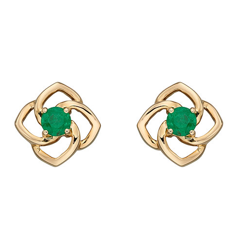 Cut Out Flower Stud Earrings with Emerald in 9ct Yellow Gold