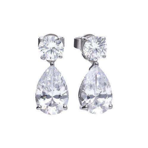Silver Teardrop Diamonfire Earrings And Prong Setting