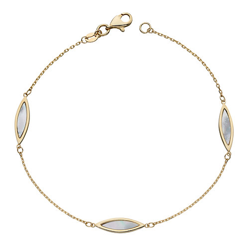Navette Mother of Pearl Bracelet in 9ct Yellow Gold