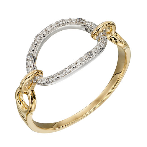 Oval Bar Ring with Diamonds in 9ct Yellow and White Gold