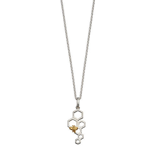 Sterling Silver Bee and Honeycomb Necklace with Yellow Gold Plating