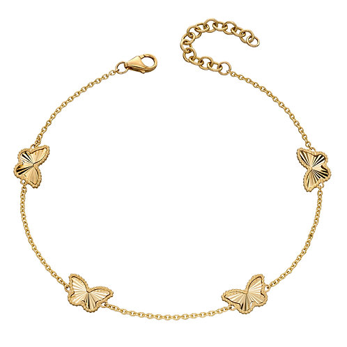 Butterfly Station Bracelet in 9ct Yellow Gold
