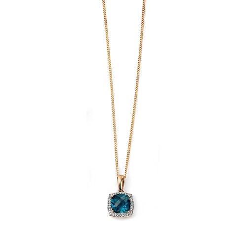 9ct Yellow Gold London Blue Topaz Checkerboard Pendant with Diamond Surround
