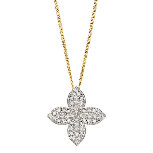 Puffed Flower Necklace with Diamonds in 9ct Yellow Gold