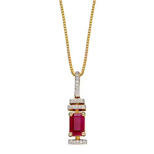 Baguette Precious Stone and Diamond Necklace in 9ct Gold