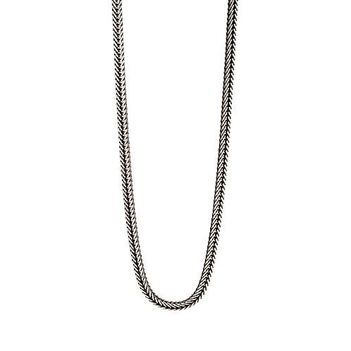 Oxidised Fox Tail Chain Sterling Silver Necklace