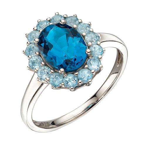 Blue Topaz Ring in 9ct White Gold