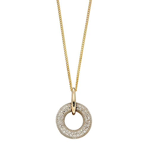 Diamond Donut Necklace in 9ct Yellow Gold