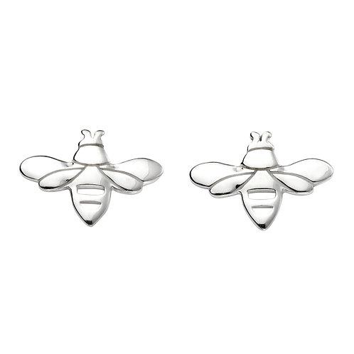 Elements Silver Plain Bee Stud Earrings