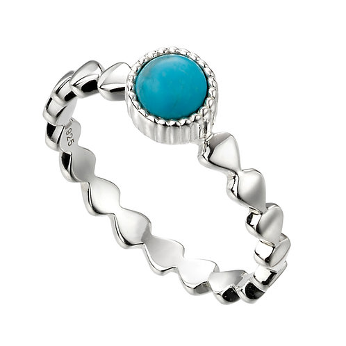 Turquoise Blue Magnesite Stone Fancy Band Silver Ring