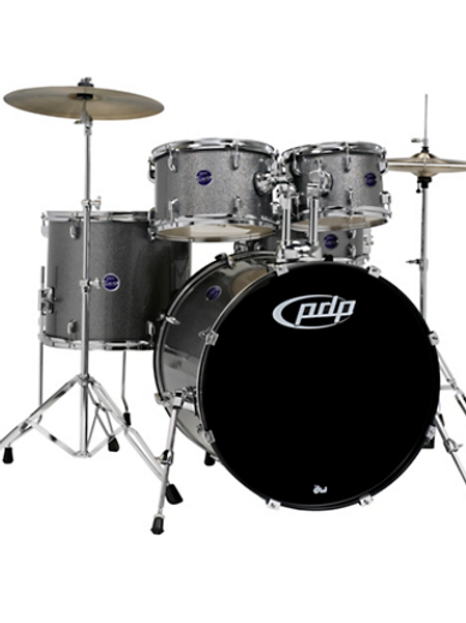Encore 5-Piece Drum Kit with Hardware and Cymbals Silver