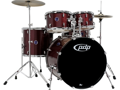 PDP Encore 5-Piece Drum Kit with Hardware and Cymbals Ruby Red