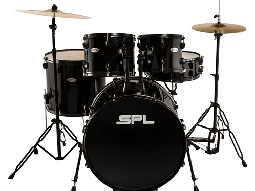 SPL Unity 5-Piece Drum Set with Hardware, Cymbals and Throne Black