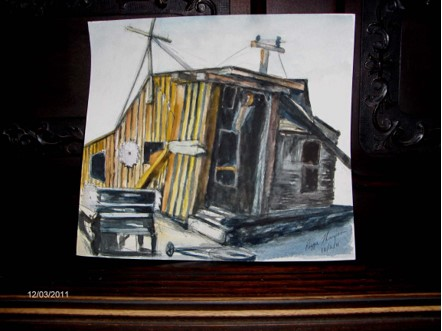 Bodie Carpenter Shack 9x12  Watercolor