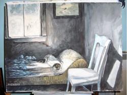 Bodie Bedroom Scene  18x24  Watercolor